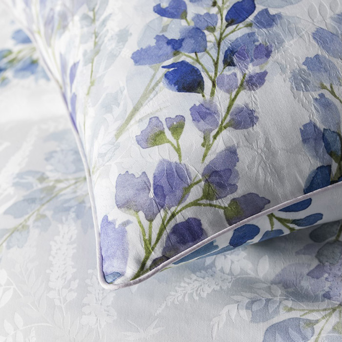 Washington DC Virginia Maryland Anne de Solene bedding bed linens Wisteria collection close-up floral pattern