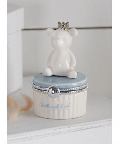 Washington DC Maryland Virginia Blue Bear Tooth and Curl Ceramic Keepsake Box